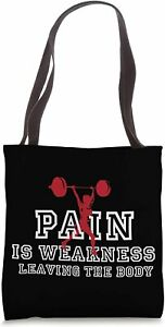 Pain is Weakness Weight Lifting Cool Fitness Lover Polyester/Canvas Tote Bag