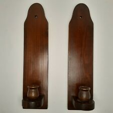 "Vintage Pair Of 15"" Wooden Candle Holders, Wall Sconces, Timberline Woodcrafters"