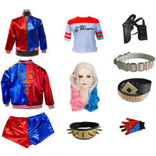 Women Adult Suicide Squad Harley Quinn Coat Short Top Set Halloween Costume Suit