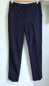"WHISTLES Ltd Ed Navy Wool Tapered Trousers UK 10 Pockets Career Turn Up Hem 28""L"