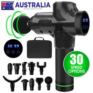 POWERFUL 10 Heads Carbon Fiber LCD Massage Gun Percussion Vibration Muscle Thera