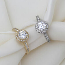 Yellow Gold Cubic Zirconia CZ & Diamond Simulant Engagement Rings