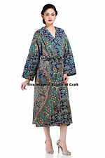 Women Long Kimono Robe Wedding Gown Blue Elephant Mandala Cotton Handmade 9