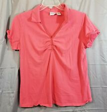 Fashion Bug Women 18/20 Shirt Coral Pink Short Sleeves Collared V Neck Top