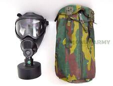 Belgian Army Sniper Gas Mask BEM-4GP Complete Set Black Rubber Face Respirator