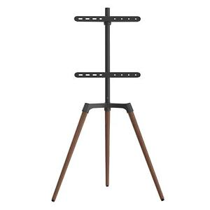 FOREST Easel Tripod Studio TV Stand, 50″-65″ TVs Matte Black & Walnut Finish
