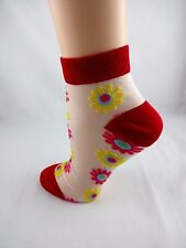 Ankle sheer socks flowers red white yellow blue see through