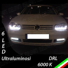 COPPIA LUCI DIURNE DRL 6 LED BIANCHI DAYLIGHT PER  VW GOLF 4 IV ALTA LUMINOSITA'