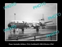 OLD HISTORIC AVIATION PHOTO TAA TRANS AUSTRALIA AIRLINES LOCKHEED ELECTRA 1964