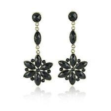 Vintage Victorian Style Flower Black Glass Rhinestones Dangle Earrings