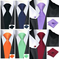 Solid Mens Silk Red Tie Set Wedding Groom Party Dress Necktie Hanky Cufflinks