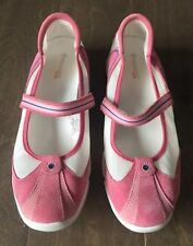 Rockport XCS Pink White Suede Mesh MaryJane Flats Loafer Walking Shoe Comfy