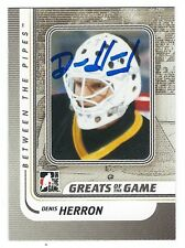 Autographed 2010-11 In the Game BTP Denis Herron Penguins Card#155 w Show Ticket