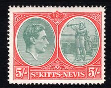 St Kitts Nevis 1943 5s Grey-Grn Scarlet SG77a Chalk Paper P.14 - mounted mint