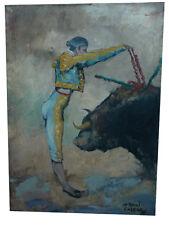 ANTONIO CASERO interesante oleo sobre tela 70 cm x 50 cm bull fighting