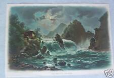 Vintage 1895 Print Falls of the Rhine by P.O. Vickery