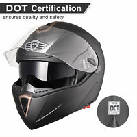 DOT Flip up Modular Full Face Motorcycle Helmet Dual Visor Race Motocross Matt M