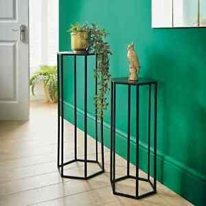Lamp Plant Table Side Table Black Metal Hallway Livingroom table set of 2