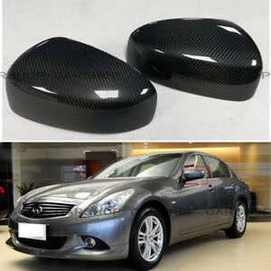 Dry Real Carbon Fiber Side Mirror Cover Add For INFINITI G25 G37 Q40 Q60 09-15