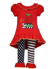 New Girls Bonnie Jean sz 2T Red A is for APPLE Outfit Fall School Dress Clothes
