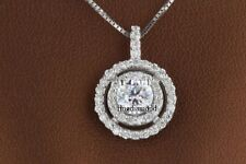2 Ct Off White Round Cut Moissanite Only Halo Pendant 925 Sterling Silver