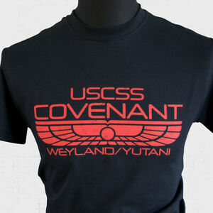 USCSS Covenant T Shirt Alien Xenomorph Weyland Yutani Ripley David Black Red