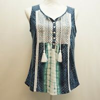Style & Co Womens Petite Top Sleeveless Embroidered Peasant Boho Blue Blouse