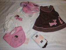 Gymboree Polka Dot Puppy 0-3 Month NWT Bib Bodysuit Dress Tights Hat Outfit