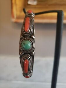 Antique Qing Dynasty Coral, Turquoise and Silver Bracelet