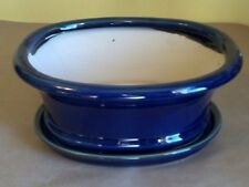 "Lovely Bonsai Pot & Matching Saucer XL 10"" long NEW, Dark Blue Oval"
