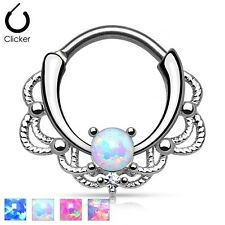 New Surgical Steel Filigree Lacey Septum Nose Clicker Hoop Ring with Opal Stone