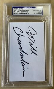 Wilt Chamberlain Autographed 3x5 Index Card Cut PSA/DNA Lakers - Beautiful Auto