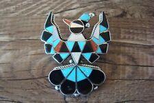 Zuni Sterling Silver Inlay Peyote Bird Pin/Pendant - D. Gasper