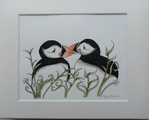 2 Puffins in grass  Original Artwork In Ink By Sarah Jane Holt