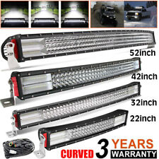"10D 4-Row 22'' 32'' 42'' 50"" 52'' Curved LED Light Bar Spot Flood offroad Truck"