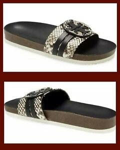 TORY BURCH LEIGH LOGO ANATOMIC SLIDE SNAKE PRINT LEATHER BLACK/WARM ROCCIA SZ 9