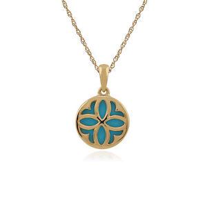 Gemondo 9ct Yellow Gold 1.50ct Turquoise Pendant on 45cm Chain