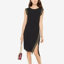 Michael Kors M Studded Asymmetrical Black Dress Sheath Career Cocktail stretch