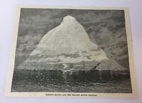 1885 magazine engraving ~ HEARD'S ISLAND Volcano Mount William ~ Antarctica