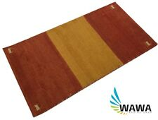 Gabbeh Teppich 70x140 cm Handgeknüpft ~ 100% Wolle ~ Rot Gold ~ Reine Schurwo