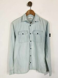 Stone Island Kid's Denim Button-Up Shirt   14 Years   Blue
