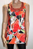 Clarity Brand Multicolour Bead Sequin Neckline Tank Blouse Size S BNWT #Si105