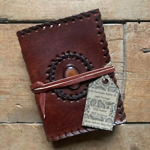 "5"" Handmade Leather Journal Travel Sketchbook Diary Notebook Orange Stone"