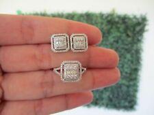 .89 CTW Diamond Earrings&Ring Set 14k White Gold JS16 sep