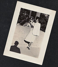 Antique Vintage Photograph Woman Standing With Puppy Dog on Wall - Creepy Shadow