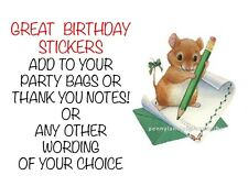 Little Mice with Green Ribbon PERSONALISED STICKY ADDRESS LABELS Craft STICKERS