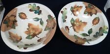 Set of 2 Ciao Italia by Bellini Hand Painted Italian Pottery Bowls w/ Leaf Decor