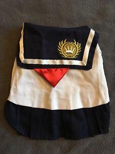 Cat Dog Puppy Sailor Dress S Costume Japan School Gold & Navy Ribbon Ruffle New