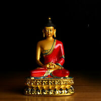 14.2CM China Resin Colour Gild Buddhism Lotus Shakyamuni Amitabha Buddha Statue