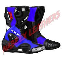 Suzuki GSXR Blue Motorbike Biker Racing Leather Boots-Motorradstiefel-botas